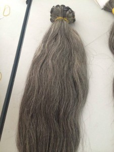 Vietnanese Straight Single Drawn Machine Weft Hair Natural Grey 225x300