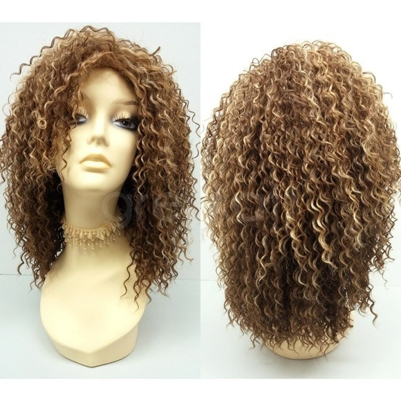 01 Light Brown Curly Wig