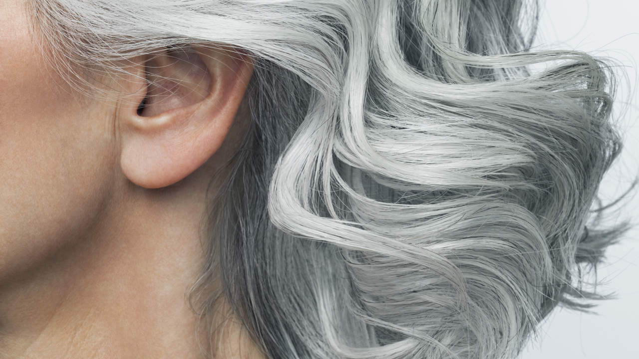 Grey Haired Woman Profile, Cropped.